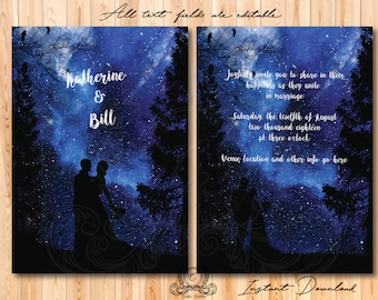 Galaxy invitation, Written in the stars Template, Editable Text,  Wedding Invitation Template, Printable Wedding Invitations
