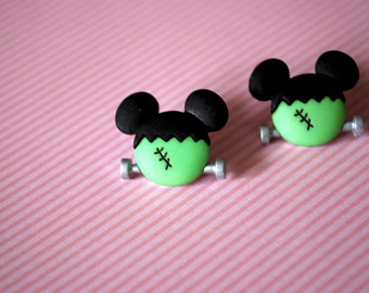 Halloween Mickey Mouse Earrings -- Frankenstein Mickey Mouse, Mouse Ears, Halloween Earrings