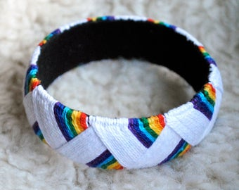 Embroidered Rainbow Bangle, boho bracelet, yubinuki bangle, woman boho bangle, embroidered boho jewelry, lady hippie bracelet, hippie bangle