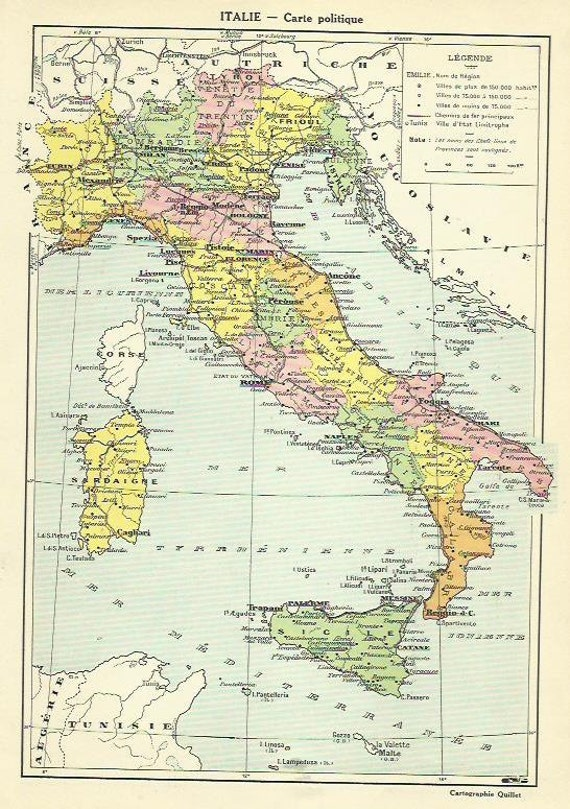 Italy italian political antique map 1935 europe cartography italy italian political antique map 1935 europe cartography vintage map home decor print gumiabroncs Choice Image
