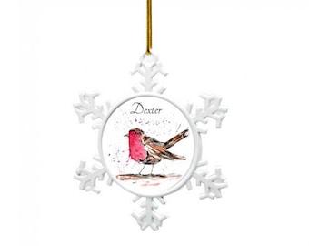 Robin tree decoration, Personalised Christmas decoration, robin christmas, babies 1st christmas decoration, tree decoration