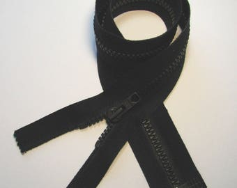 Zip, 54.5 cm, detachable, black, 6 mm injected stitch, sewing.