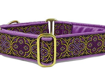Martingale Dog Collar or Buckle Dog Collar - Custom Dog Collar - Wide Martingale Collar - Blarney Jacquard in Purple & Gold - 1.5 Inch
