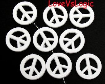 10 Peace Symbol Acrylic Beads. White