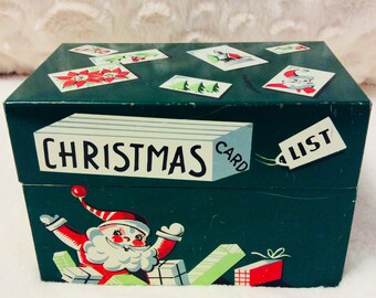 Vintage Christmas Card List Tin Recipe Box Happy 1960s Santa Toys Green