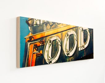 Vintage Food Sign, Limited Edition, Photo Art, Image Transfer on Wood Panel, 'The Goof' by Patrick Lajoie, signage photography, restaurant