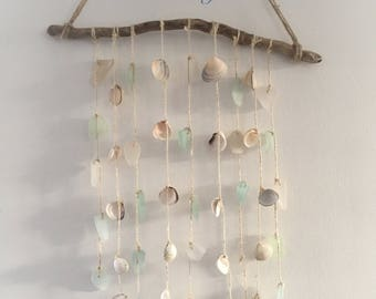 Driftwood Sea Glass Shell Wind Chime Blues and Clear Beach Inspired Home Decor Wall Hanging Shabby Chic Natural Nautical Decor