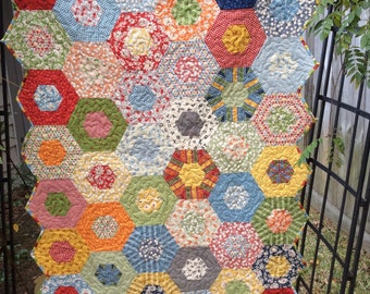 Baby Quilt for sale- Ready to Ship-Made from American Jane Fabrics by Moda-nursery decor-hexagon quilt-baby gift- gender neutral-primary col