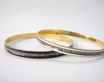 Rosecut polki diamond black or white enamel bangle sterling silver custom diamond jewelry bracelet pave diamond bangle