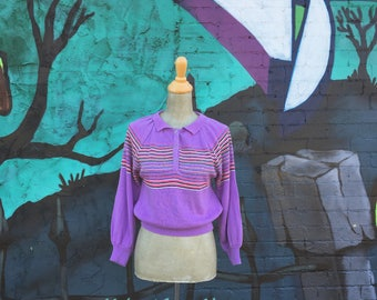 Vintage Purple Striped Collared Knit Sweater (Size Small/Medium)