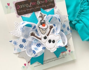 Olaf Bow - Olaf Frozen hairbow - Darling Little Bow Shop