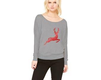 Christmas Reindeer Women's Flowy Long Sleeve Off Shoulder Shirt