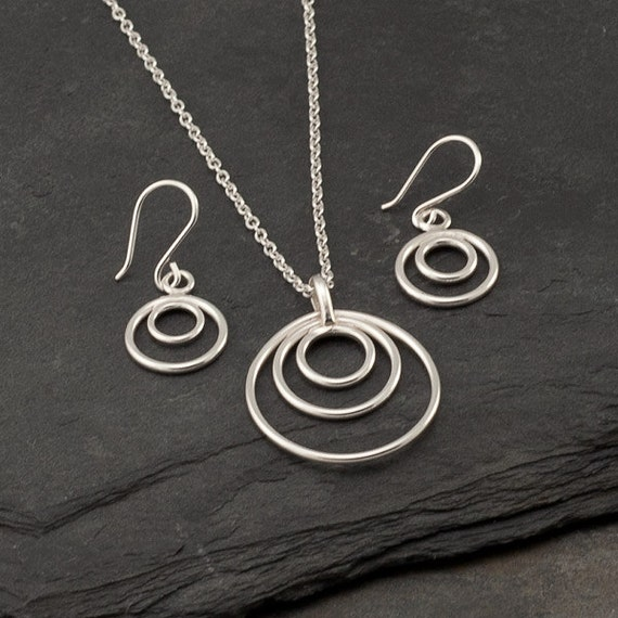 Sterling Silver Jewelry Set- 2 piece set- Silver Circle Necklace- Silver Hoop Earrings- Necklace Earring Set