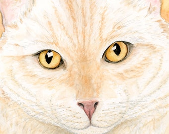 Ginger Cat Art Prints, Orange Cat Painting, Cat Watercolor Print, Orange Flame Point Cat Painting, Orange Tabby Cat Art, Ginger Cat Painting