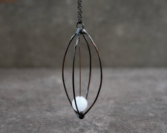 Cage necklace with faceted quartz crystal, Bohemian style anxiety pendant on long gunmetal chain, Soldered jewelry