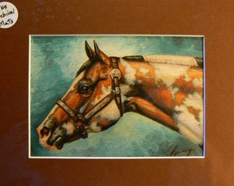 Rainbow Paint horse reproduction 5x7 giclee print in 8x10 mat equine art by Kerry Nelson