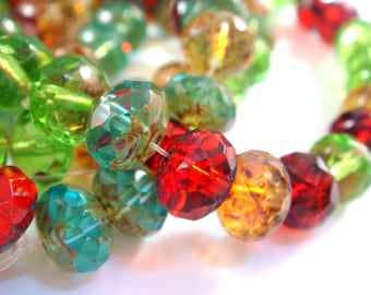 25 Czech Glass Picasso Bead Mix 8x6mm Fire Polished Assorted Transparent Faceted Rondelles 1mm hole - 25 pc - G6041-TMIX25