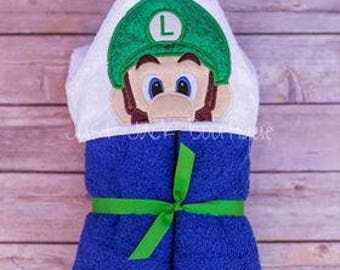 Plumber Brother Hooded Towel- Hooded Bath Towel For Baby- Toddler Hooded Beach Towel- Easter Basket Stuffers- Custom Hooded Towels For Kids