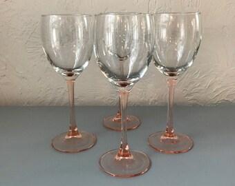 Vintage Pink-Stemmed Wine Glasses-From France-Set of 4