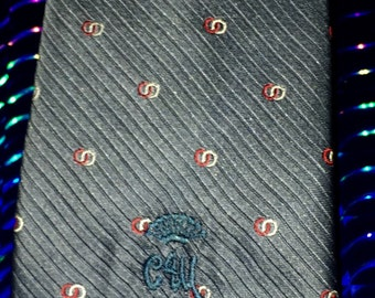 "Vintage COUNTESS MARA CM Monogram Slate Diagonal Stripe Geometric Print 100% Silk Necktie Tie 56"" L / 3.5"" Wide"
