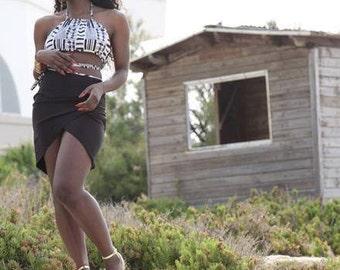 Two piece set - Halter neck crop top and Black Asymmetric Skirt