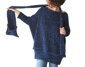 Tweed Blue Over Size Sweater with Pocket Scarf by AFRA Sweater - Scarf Set Plus Size