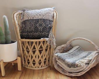 Extra Large Basket Blanket Basket W/ Handle Firewood Basket Gray Basket Storage and Organization Boho Home Decor