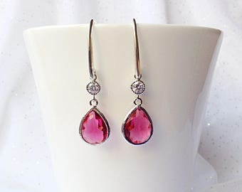 RED TEARDROP EARRINGS - Ruby Red Glass Teardrop Earrings - Red Dangle earrings