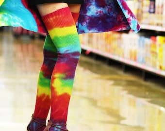 Rainbow tie dye thigh high socks, one size, cotton, made to order. Festival stockings.