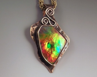 Ammolite- Rainbow of Colors- Smokey Bronze Patina- Metal Art Pendant Necklace