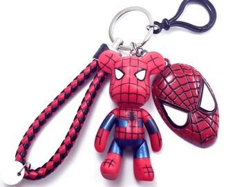 spider man keychain, spider bear keychain, spider man bag charm