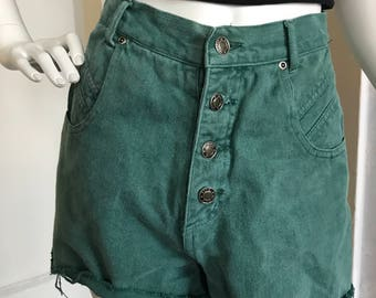 Green high waisted button fly shorts