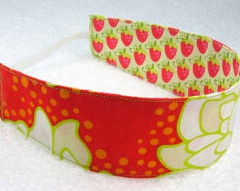 Red green floral strawberries child reversible headband, baby hair wrap, toddler headband, girl party favor gift, fabric headband photo prop