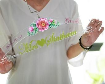 Personalized Wedding Hanger, Custom Bridal Hanger, Clear Acrylic Wedding Dress Hanger, Unique Bridal Shower Gift, Wedding Gift, TM001