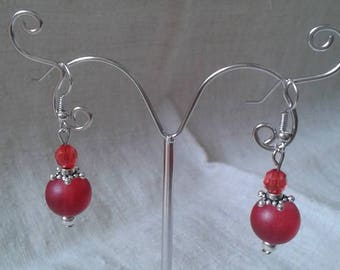 """red pearls duo"" earrings"