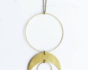 Gold Crescent Moon Necklace, moon phase necklace, statement necklace, circle necklace, boho moon necklace, long necklace, Christmas gift