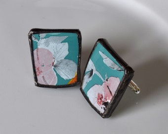 Broken China Cuff Links - Blue and Pink