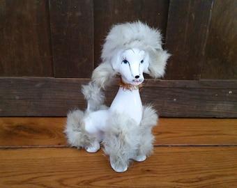 Vintage Ceramic Poodle with White Fur Japan