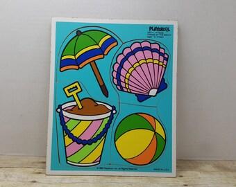 Vintage Playskool Puzzle, 1986, Wood puzzle, Things at the Beach, vintage toy