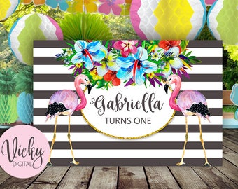 Tropical Flamingo Backdrop - Flamingo Banner - Birthday Backdrop -  Dessert Table Backdrop - Digital file only - You print