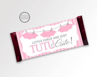 Tutu Cute Candy Bar Wrappers | Candy Wrappers | Printable Party Supplies | Baby Shower Candy Wrapper | Baby Shower Party Decor