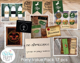 Middle Earth/Elvish Party Printables Value Pack, 17pcs - Green and Brown -  Instant Download NOT Editable - Kids Birthday Parties