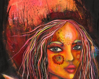 Butterfly girl , canvas print on wood block
