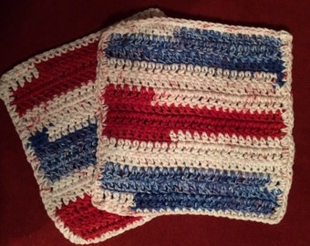 D-2 Crocheted 100% Cotton Dish Cloth  - Set of 2