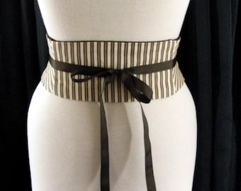 Cappuccino Stripe Mini Corset Obi Belt / Steampunk Belt / Striped Waist Cincher / Plus Sizes and Steel Boning Available / Outerwear Corset