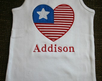 Custom Boutique 4th of July Heart Flag Appliqued Tank Top or Tshirt