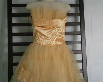 Vintage Prom Gown, 1950's Yellow Satin and Tulle Prom Dress, Shelf Bust Gown, Evening Gown, Strapless Gown, Party Dress
