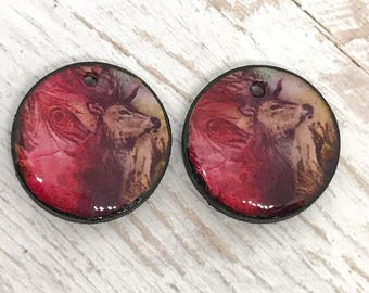 Pink and brown stag deer wooden charms pair round tiles painted black handmade charm resin jewellery artisan components unique craft supply