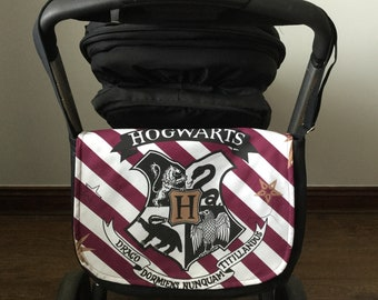 pram baby changing bag diapers nappies Harry Potter Hogwarts burgundy stripes  black gold white new cotton adjustable strap