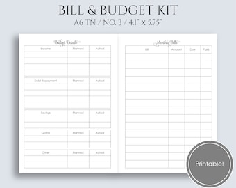 """Monthly Bills and Budget Kit Printable Planner Inserts, Track Income, Expenses, Debt Repayment ~ A6 TN / No 3 / 4.1"""" x 5.75"""" PDF (MBB)"""